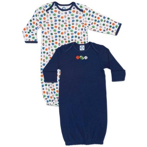 Gerber Baby-Boys Newborn 2 Pack Lap Shoulder Gown, Blue, 0-6 Months front-242667