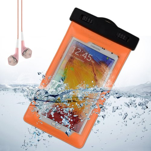 Cellphone Waterproof Pouch Case For Samsung Galaxy Note 3 / Samsung S5 / Note 2 / Nokia Lumia / Sony Xperia Z2 + Vangoddy Headset With Mic (Orange)