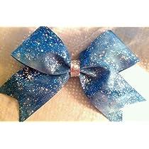Cheer BOW - Blue Tye Dye Silver Splattered on Copen Blue Grosgrain Ribbon