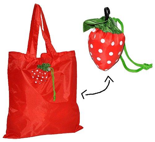 Tragetasche / Shopper / Einkaufsbeutel - Erdbeere faltbar - Tasche aus Stoff mit Karabiner - Nylon - Faltshopper Beutel Einkaufstasche