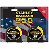 Stanley Consumer Tools FMHT74038 25' Fatmax Tape Measure (2 Pack) (Color: Yellow, Tamaño: 25')