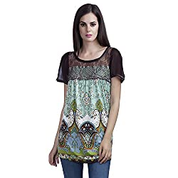 MansiCollections Casual Short Sleeve Printed Women's Multicolor Top (Large)