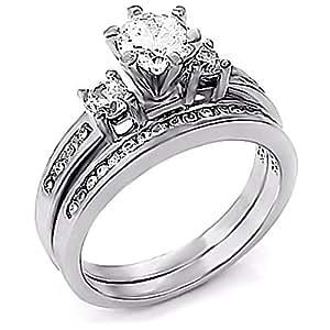 Lakoda: 1.31ct Russian Ice on Fire CZ 2 Pc Wedding Ring Set 925 Sterling Silver, 3069 sz 4.0