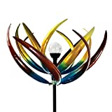Solar Multi-Color Tulip Wind Spinner-Solar Powered Glass Ball Emits Color-Changing Light - Made of Metal and Steel
