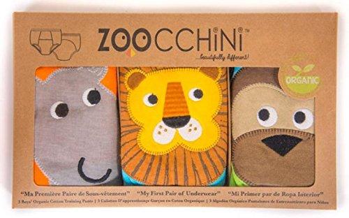 Zoocchini - Slip educazione al vasino 100% cotone biologico (Set da 3)–(2/3anni) - bambino