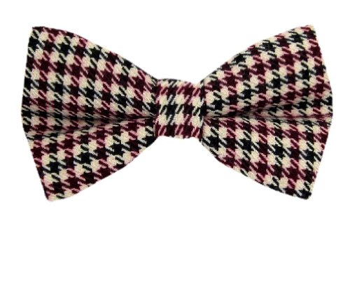 Pbt-Amz-10491 - Black - Magenta - Cream Mens Flannel Western Pre Tied Bow Tie