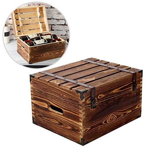 MyGift Wood 6 Wine Bottle Case, Rustic Storage Box with Handles and Lid, Brown (Wood Storage Box With Lid compare prices)