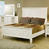 Queen Size Bed Cape Cod Style in White Finish