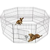 Oxgord Dog Animal Playpen Large Metal Wire Folding Exercise Yard Fence 8 Panel Popup Kennel Crate Fence Tent Portable - Black - Premium Quality - 2015 Newly Designed, 24 Inches
