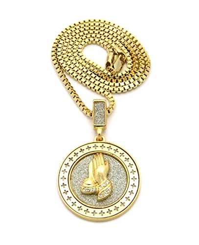 "Cross Frame Stone Stud Praying Hands Medal Pendant 2.5mm 24"" Box Chain Necklace in Gold-Tone"