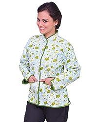 Chhipa Women Hand Printed Green Jacket(1030_Green_40)