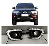 AupTech Daytime Running Lights LED Fog Cover DRL for Mitsubishi Pajero Sport 2013 2014 2015
