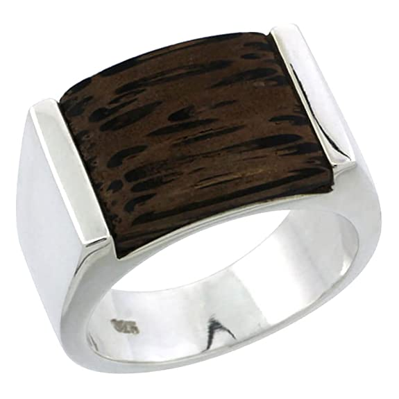 "Revoni Sterling Silver Square-shaped Ring, w/ Ancient Wood Inlay, 5/8"" (16mm) wide"