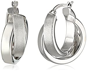 Duragold 14k White Gold Satin and Polished Crossover Hoop Earrings
