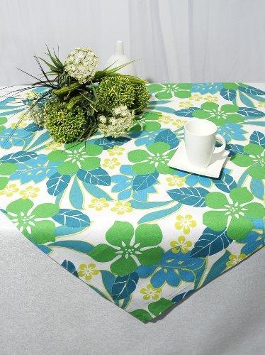 """Zauberhafte Tischdecke / Mitteldecke """" BLÄTTER UND BLÜTEN """" in weiß-grün-blau - exclusive frische Küchen-Serie - Größe 90x90 - aus 100 % BAUMWOLLE - es sind Tischläufer und weitere Tischdecken im gleichen Design erhältlich"""