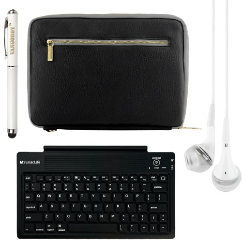 Irista Elegant Leather Protective Bag Sleeve Cover For Dell Venue 8 / Dell Venue 8 Pro 8-Inch Tablets + Bluetooth Keyboard + Laser Stylus Pen + White Headphones (Black)