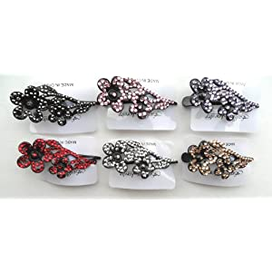 Rhinestone Bling Hair Clip with Flower Set of 6 Assorted Colors for every outfit!