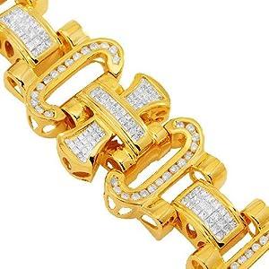 14K Yellow Gold Mens Diamond Bracelet 9.50 Ctw
