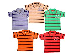 1lycargos Boys Half sleeve Printed stripped Polo T-Shirt - 5pcs pack with Five different attractive colours