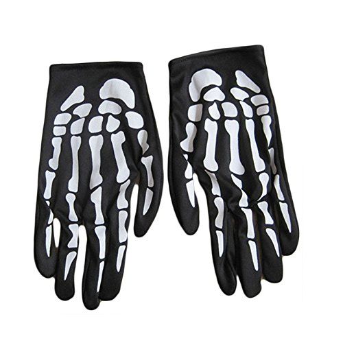 [Dutch Brook Halloween Costume Cosplay White Skeleton Full Finger Gloves] (Bicycle Themed Halloween Costumes)