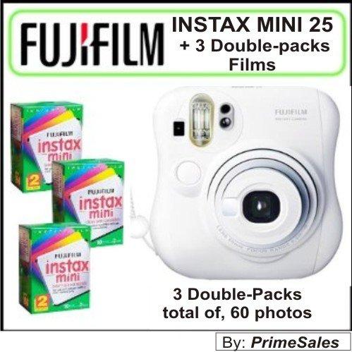Fujifilm Instax MINI 25 Instant Film Camera (White) +++ KIT of 3 Double Packs Film (60 photos)