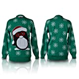 SHUKAN FASHIONS - NEW WOMEN LADIES CHRISTMAS NOVELTY SNOWBALL PENGUIN STICK LUREX GREEN KNITTED JUMPER