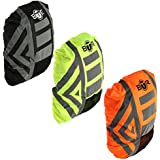 BTR Waterproof High Visibility Backpack Cover, Rucksack Cover. 300D Oxford Fabric, 3M Tape Reflective Stripes. Yellow, Orange, Black