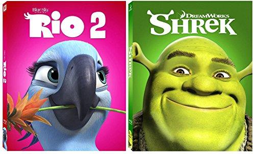 Shrek & Rio 2 Blu Ray Movie Cartoons Sequel Animated Set Ogre Fantasy