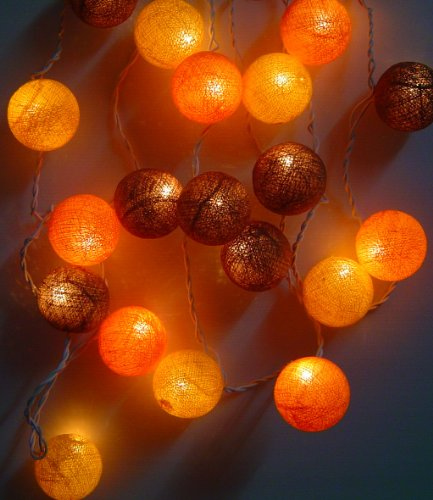 New Solar Powered Led Autumn Shades Cotton Ball Lantern Fairy Light String