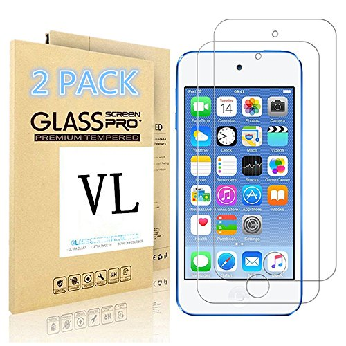iPod Touch Screen Protector, VL [Tempered Glass] for Apple iPod Touch 6th, 5th Generation, [Scratch Resist] [Bubble-Free] 0.2mm Ultra Thin 9H Hardness High Definition Premium Tempered Glass (2 PACK) (Ipod Battery 5th Generation compare prices)