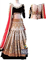 My Selection Fashion Women Bollywood Chiku And White Color Heavy Ambroidary Velvet Blouse Wedding Lehenga