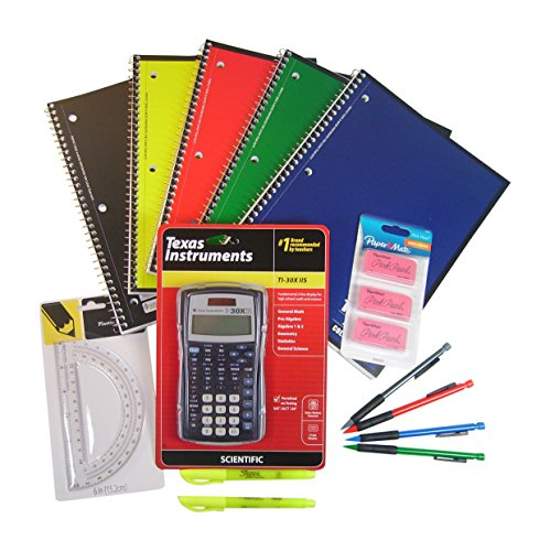 Back to High School & College 14 Item Bundle with Texas Instruments TI-30X IIS Scientific Calculator with School Supplies (Ti 30xs Pink compare prices)