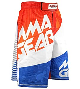 MMA Gear Evolve MMA Shorts (Orange & White, Small)