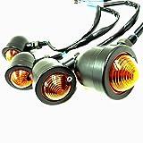COCOAUTO 砲弾型 ビレット ウィンカー ブラック タイプ 4個 セット 12V バイク 汎用 アメリカン クルーザー 汎用 電球付きBL