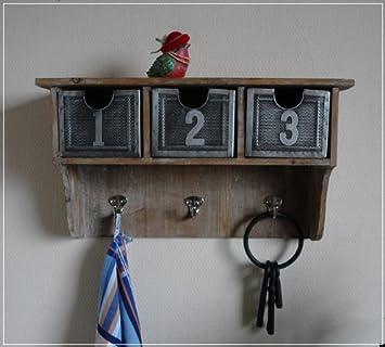 wandregal aus holz mit schubladen aus metall db707. Black Bedroom Furniture Sets. Home Design Ideas