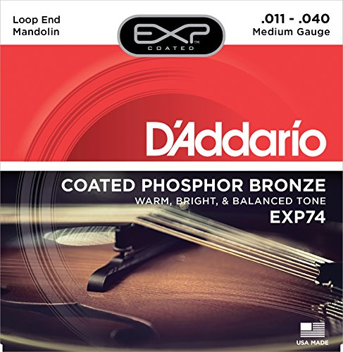 D'Addario EXP74 Coated Phosphor Bronze Mandolin Strings, Medium, 11-40 (D Addario Exp compare prices)