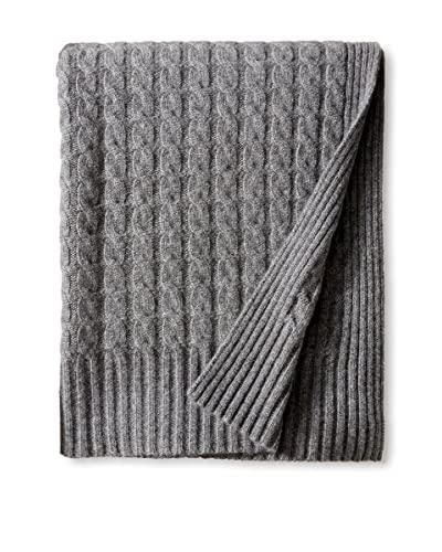 Sofia Cashmere Classic Cable Throw, Grey