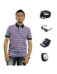 Garushi Purple T-Shirt With Watch Belt Sunglasses Cardholder - B00YMLOCX4