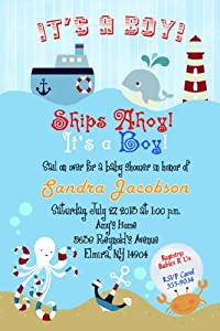 amazoncom nautical baby shower invitations toys amp games