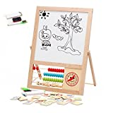 Vidatoy Double Sided Magnetic Chalk Dry Erase Board With Wooden Numbers Wood Toys For Kids