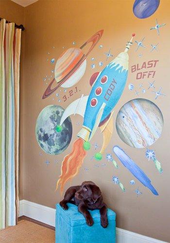 "Oopsy Daisy Retro Rocket Peel & Place Wall Art by Jill Bachman Pabich, 54"" x 60"""