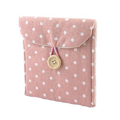 Lady Soft Cotton Blends Polka Dots Sanitary Napkins Holder Bag Pink White