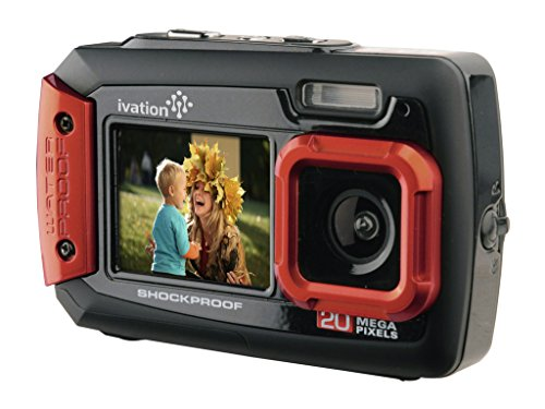 Cheapest Price! Ivation 20MP Underwater Shockproof Digital Camera & Video Camera w/Dual Full-Color LCD Displays – Fully Waterproof & Submersible Up to 10 Feet (Red)