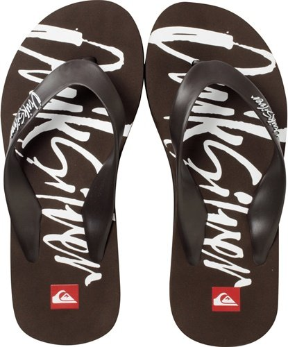 Cheap Kids Flip Flops By Quiksilver In Brown With Logo (B005TIRDVM)
