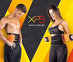 Xtreme Power Belt Fitness Waist Cincher Sport Shapewear Waist & Abdomen Reduction Faja (Black/orange, Xlarge)