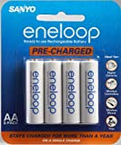 Sanyo - Eneloop Aa Nimh Pre-Charged Rechargeable Batteries - 8 Pack