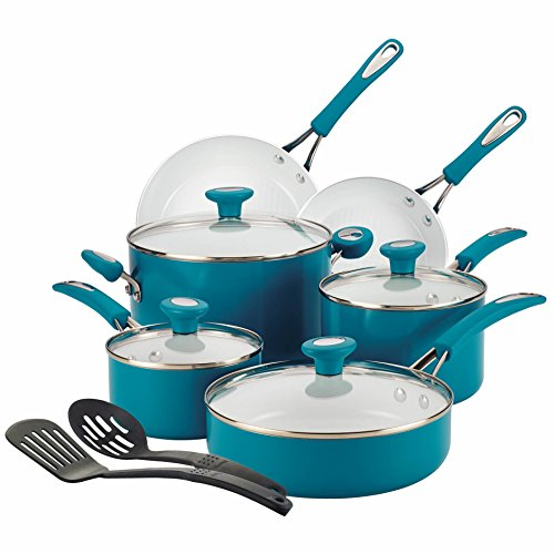 SilverStone Ceramic Nonstick Aluminum Cookware Set, 12-Piece, Marine Blue, CXi Collection (Aluminum Ceramic Cookware compare prices)