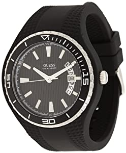 Guess U10663G6 black dial black silicone strap men watch NEW