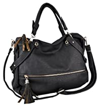 Tassel Décor Black Shopper Tote Style Slouchy Hobo Handbag w/ Shoulder Strap