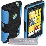 Yousave Accessories Cover in silicone gel per Nokia Lumia520 Blu/Nero
